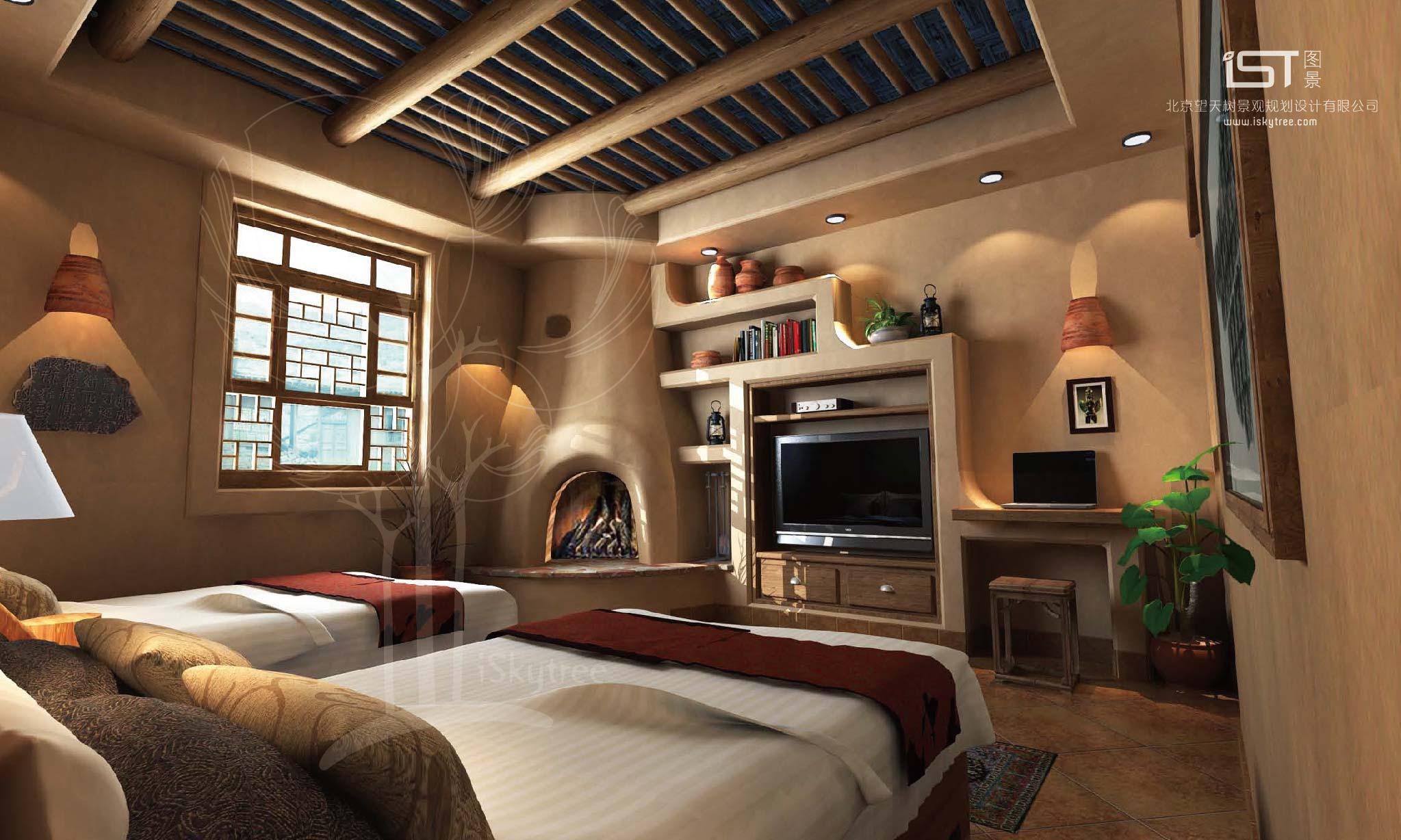 黨項主題民俗客棧客房裝修設計方案一效果
