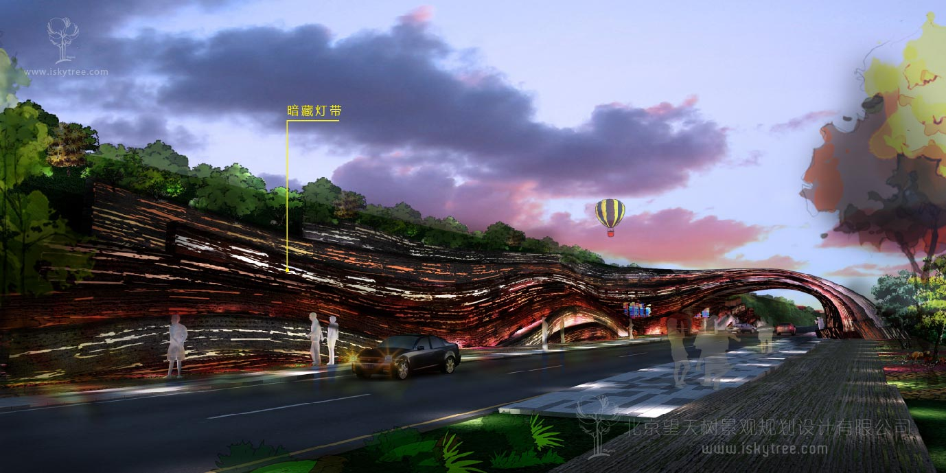丹霞景区入口大门设计案例夜景效果表现图