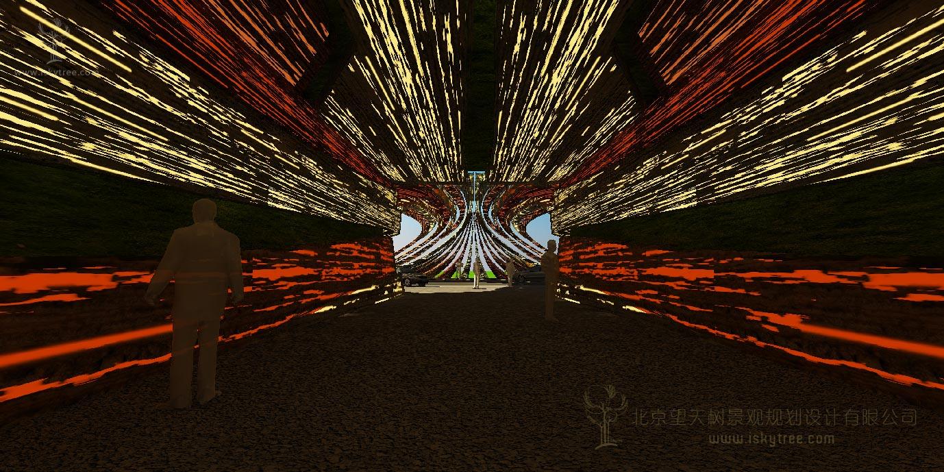 丹霞景区入口大门设计方案涵洞内部效果表现图