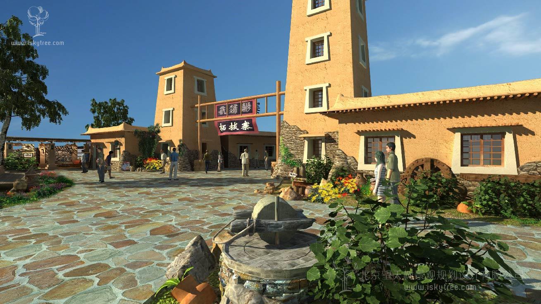 党项民俗文化特色小镇主入口大门建筑景观规划设计方案
