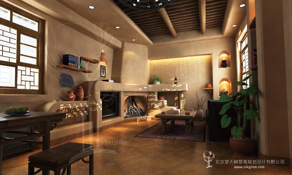民俗风情精品酒店套房客厅设计