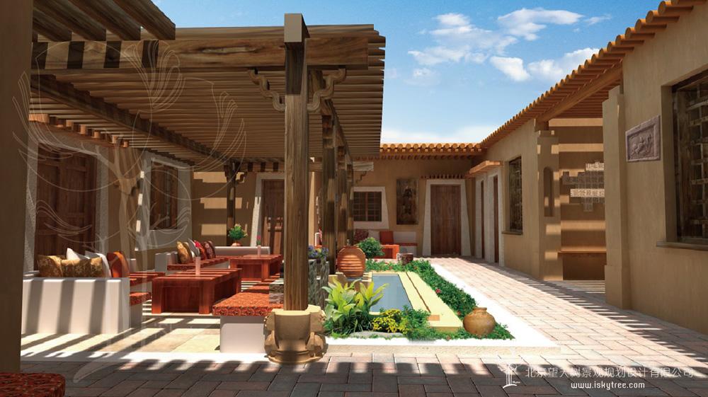 民俗风情精品酒店庭院建筑景观装潢设计