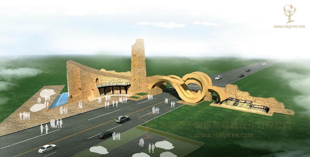 黄河峡谷包子塔景区大门设计方案鸟瞰图