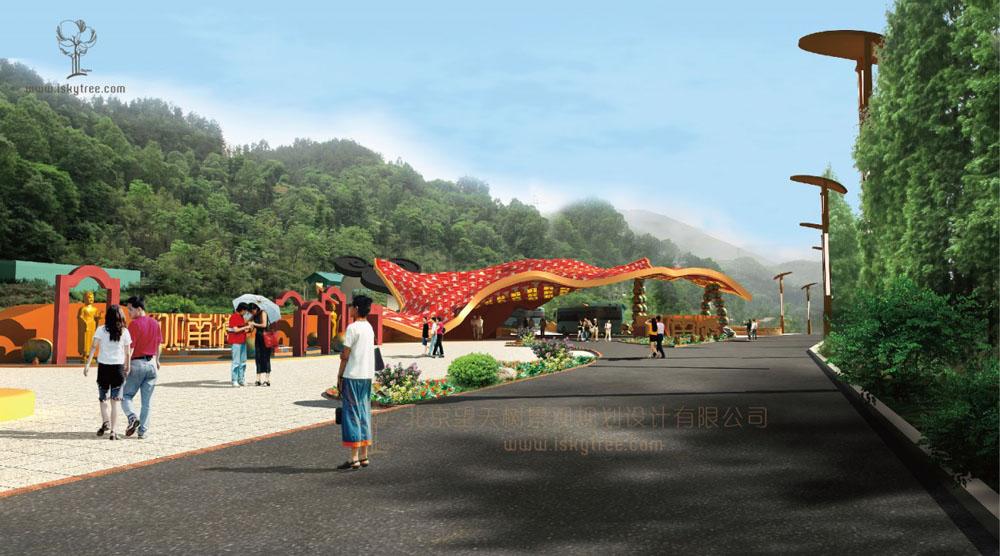 陕西汉中南郑县小南海宗教qy188千赢国际区主入口大门设计方案