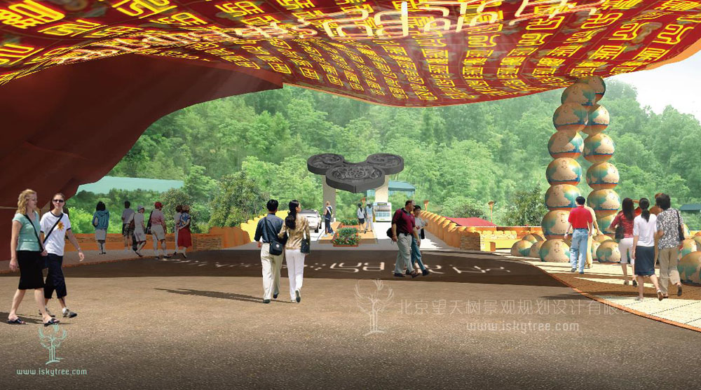 佛教主题qy188千赢国际区主入口大门设计方案