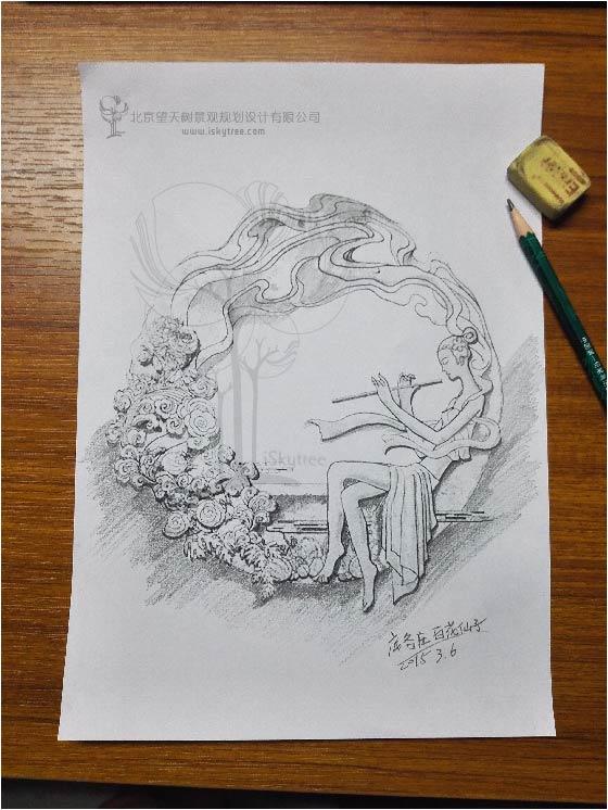 """""""百花仙子""""主题雕塑设计手绘图"""