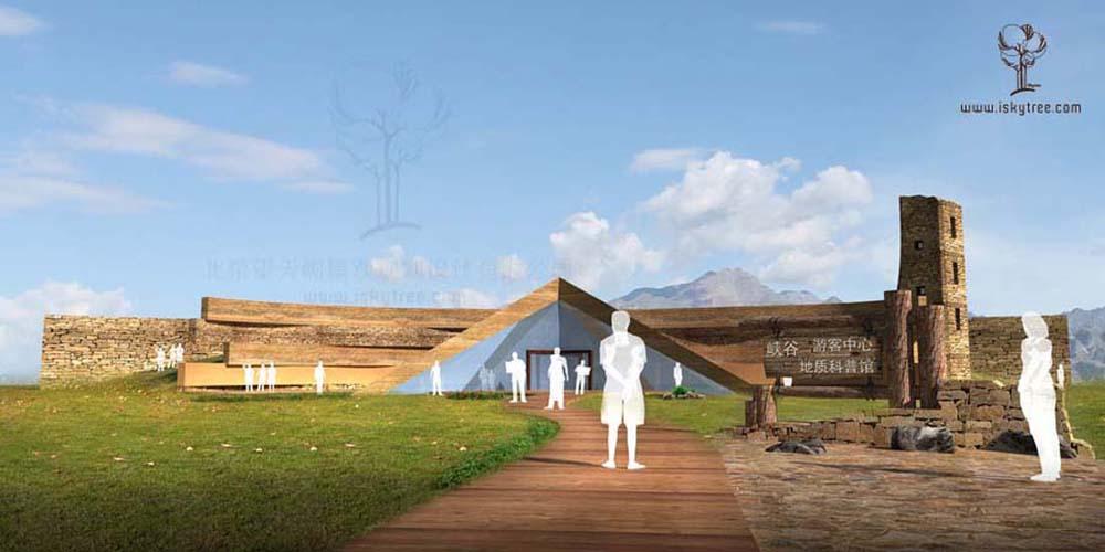 设计要点: 1、游客中心考虑建筑体量比较大的原因,将其设计成覆土建筑形式减少对环境的破坏,整体造型现代大气。 2、顶部开有天窗采光,覆土形式的坡度也成为一个大的观景平台,简洁明晰的三角造型入口加上土黄石材立面与景区大门遥相呼应,曲线造型的肌理景片墙反映出大峡谷历史层积岩的效果 3、东面高四层的观光塔为景区标志性景观兼具制高观光功能。