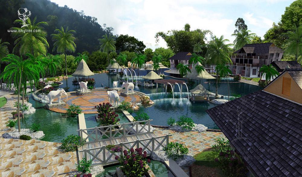 傣式泼水广场设计