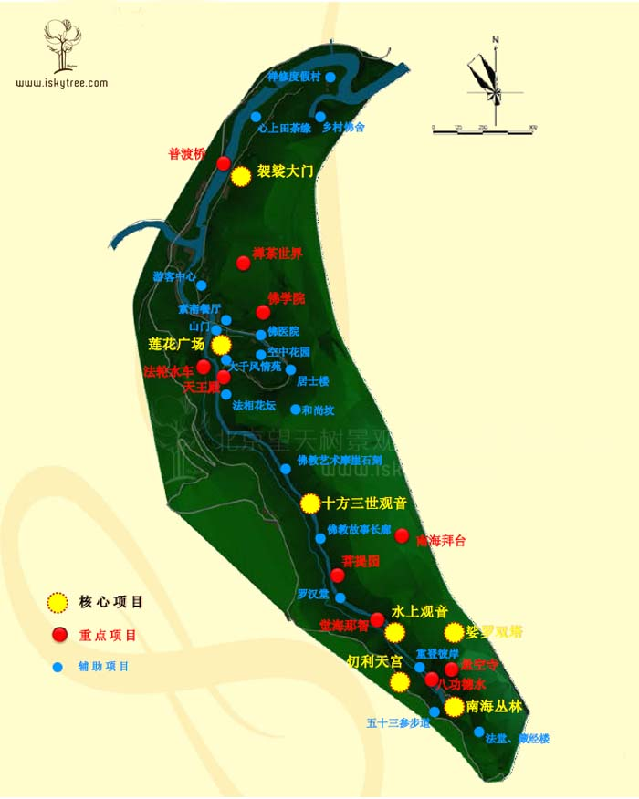 小南海宗教文化旅游区重点项目分布图