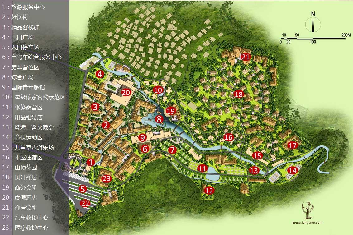 西双版纳热带雨林国家公园曼旦景区重点项目分布图