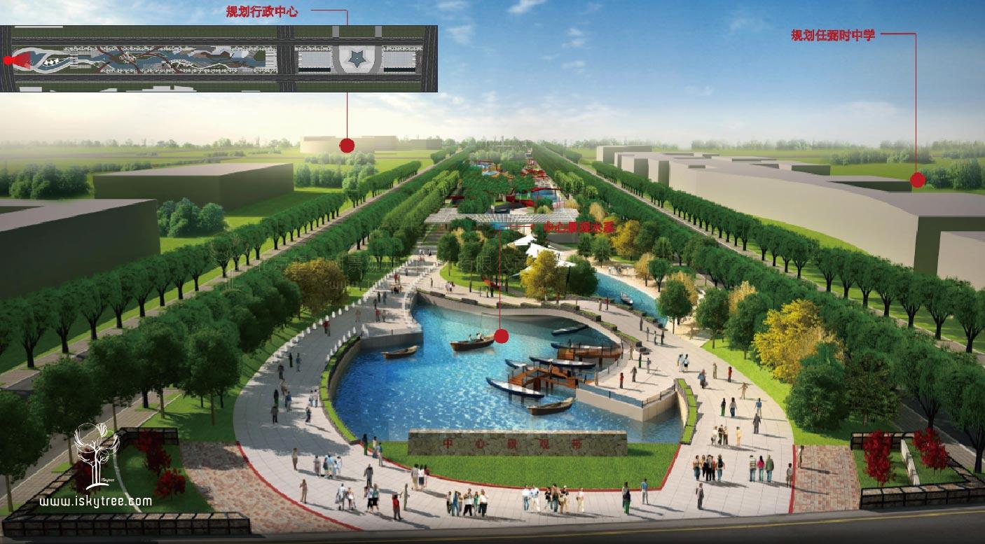 永新滨江公园中心景观带鸟瞰图