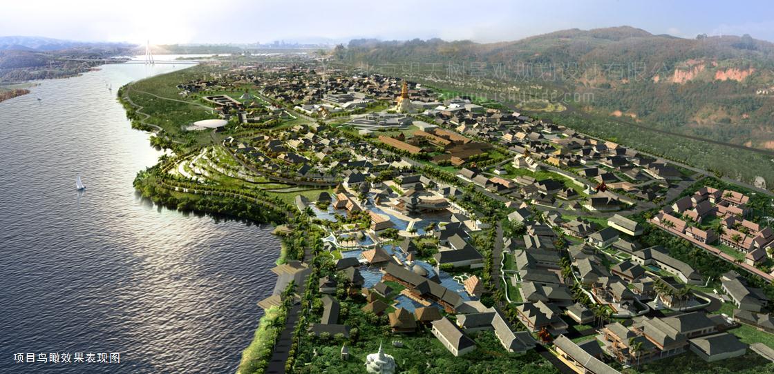 西双版纳告庄西双景项目建筑与景观设计鸟瞰