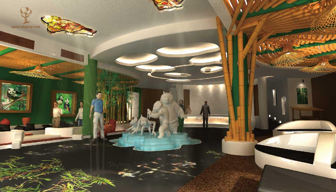 熊猫主题酒店大堂设计