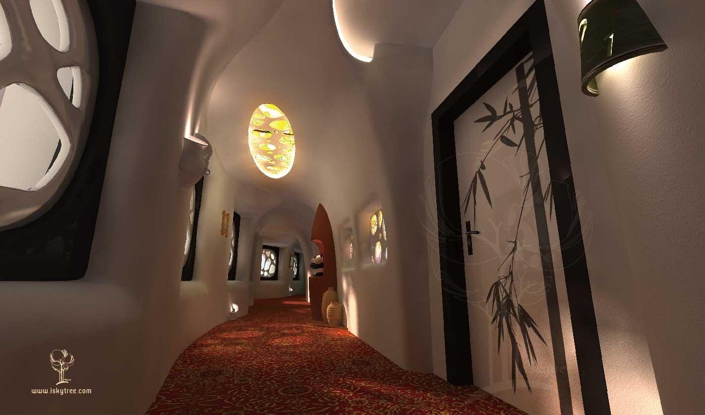 熊猫山庄主题酒店客房走廊设计