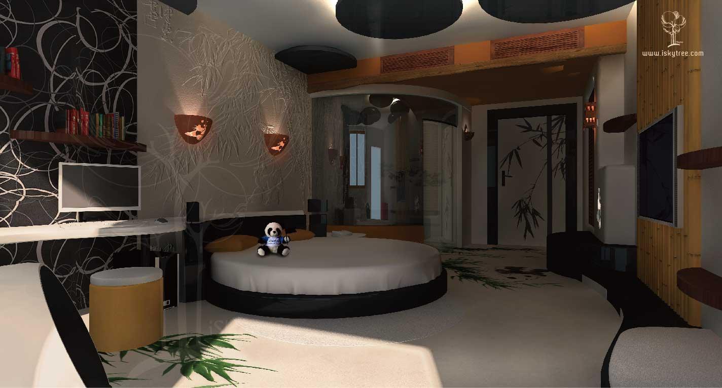 熊猫山庄主题酒店客房设计